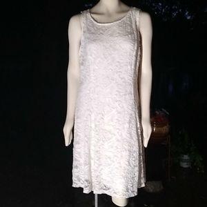 "NWOT plus""Liz Claiborne"" 2 layer lacey white dress"